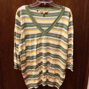 Catchy Attitude V-Neck Sweater 3X striped